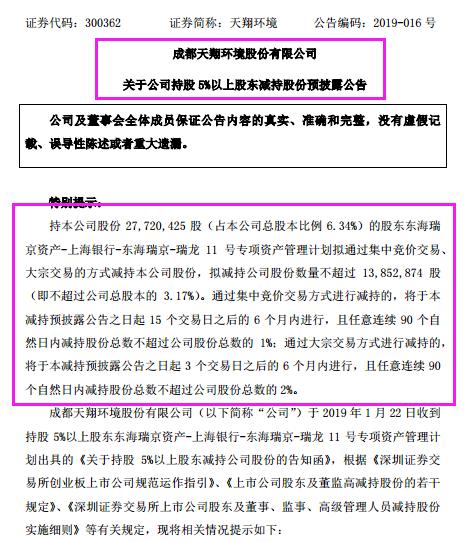 """累计近13亿元的债务 天翔环境股东减持或因成""""老赖"""""""